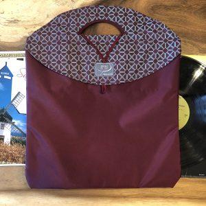 72_grand Bagasak_bourgogne_diamant_disques vinyles_sac à livres réutilisable